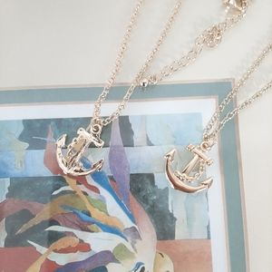 3/$20 Gold Anchor Charm Necklace Dainty Layered